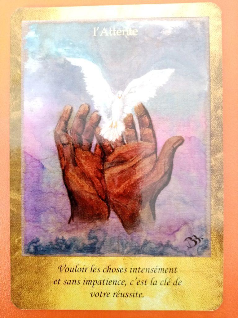 """Lecture de la carte oracle """"L' Attente"""" issue du jeu de carte """"les portes de l'intuition"""" de Vanessa Mielczareck"""